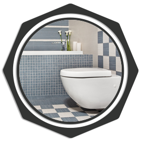 white toilet with checkered floor and wall
