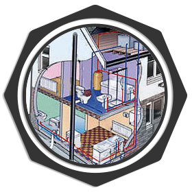 cartoon diagram of a home's plumbing system
